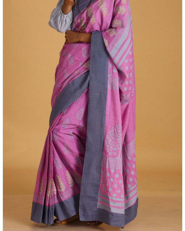 Pink block printed cotton sari 1