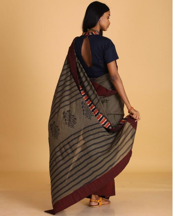 Military green block printed sari 2