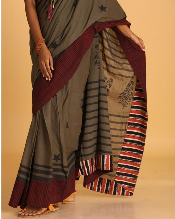 Military green block printed sari 1