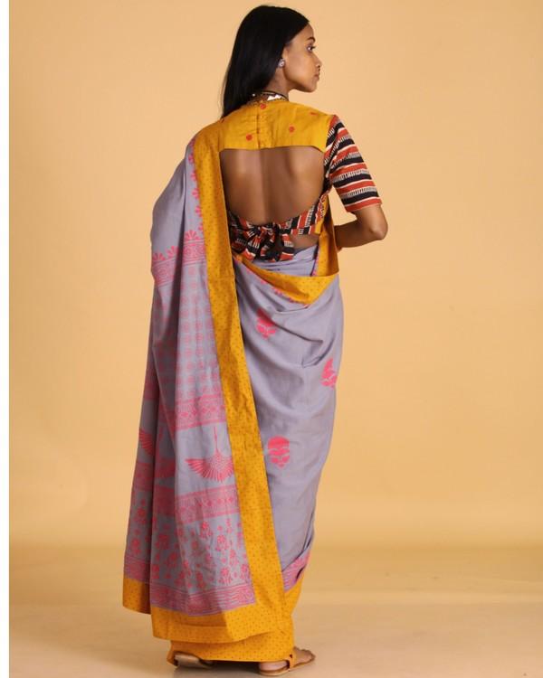 Pastel grey block printed sari 3