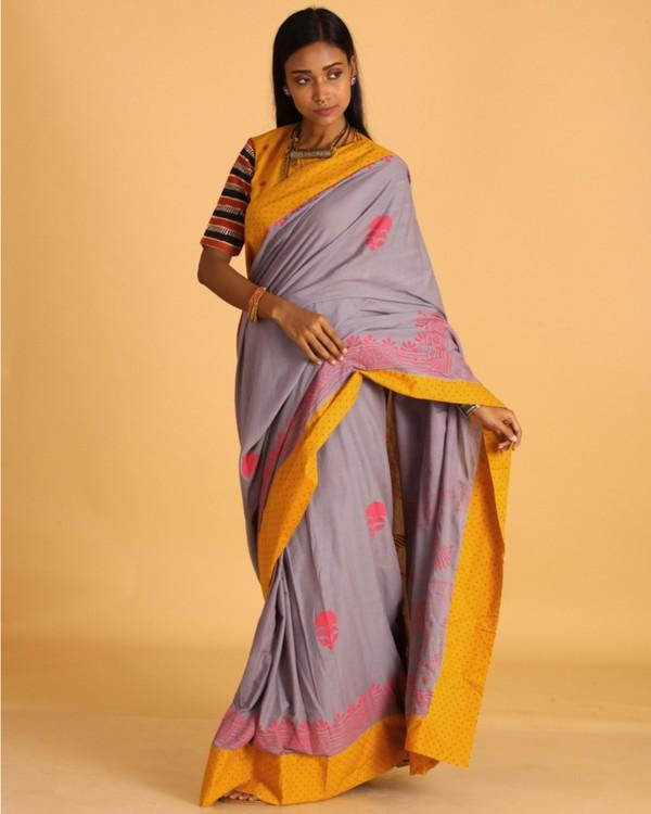 Pastel grey block printed sari 2