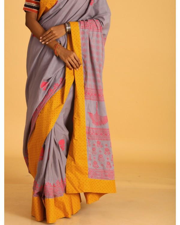 Pastel grey block printed sari 1