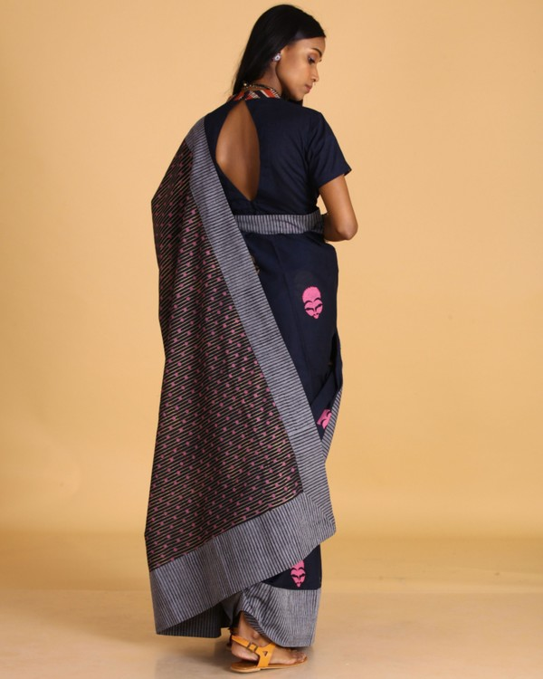 Navy blue block printed sari 2