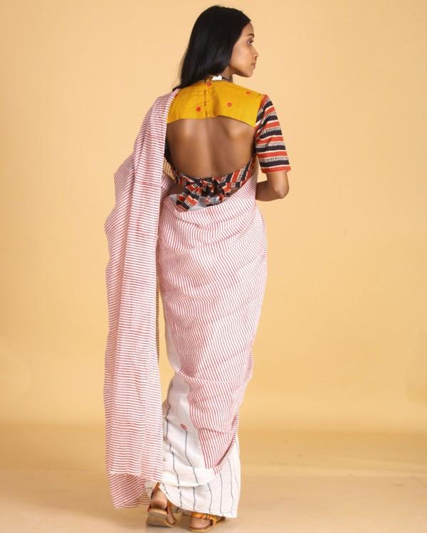 Magenta striped off white cotton sari 3