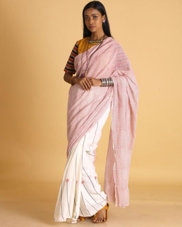 Magenta striped off white cotton sari 2