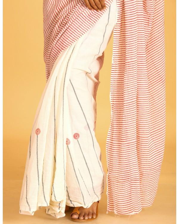 Magenta striped off white cotton sari 1