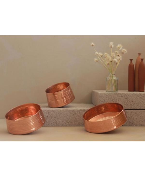 Whirling copper tea light holder - small 2
