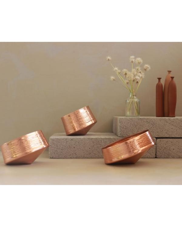Whirling copper tea light holder - small 1