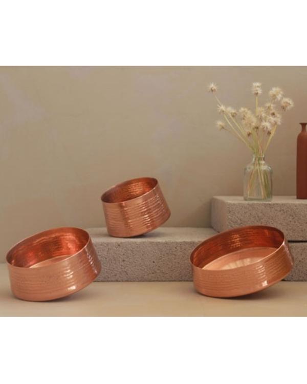 Whirling copper tea light holder - large 2