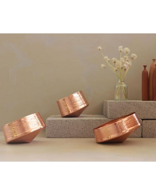 Whirling copper tea light holder - large 1