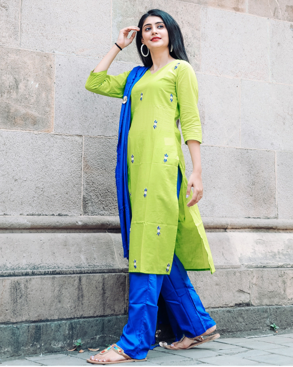 Lime Green And Royal Blue Handwork Suit Set Set Of Three