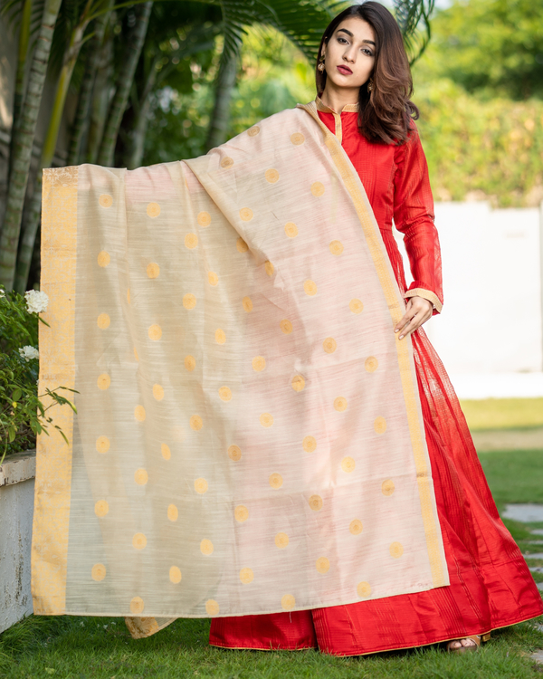 Red Chanderi Cotton Anarkali with Golden Woven Dupatta - Set of Two 1