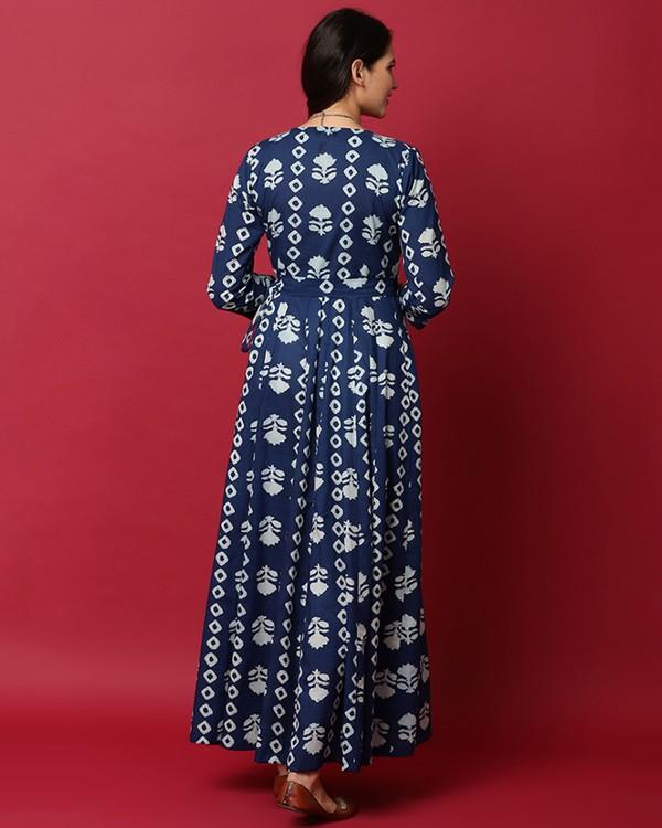 Indigo and white floral printed angrakha dress 3