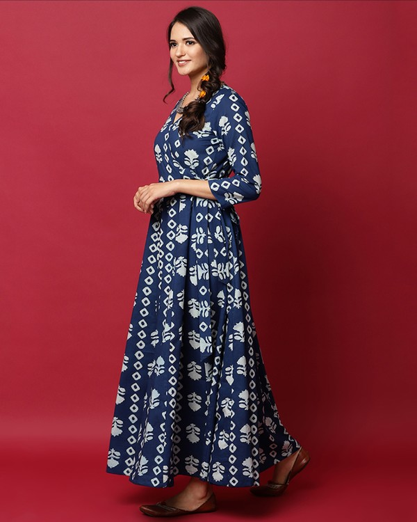 Indigo and white floral printed angrakha dress 2