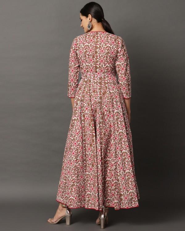Pink floral printed angrakha dress 3