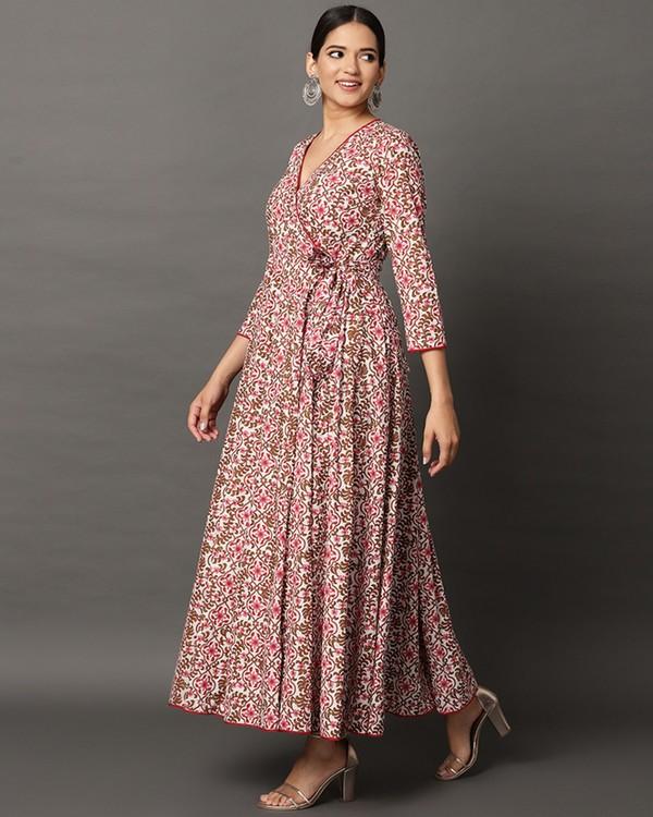 Pink floral printed angrakha dress 2