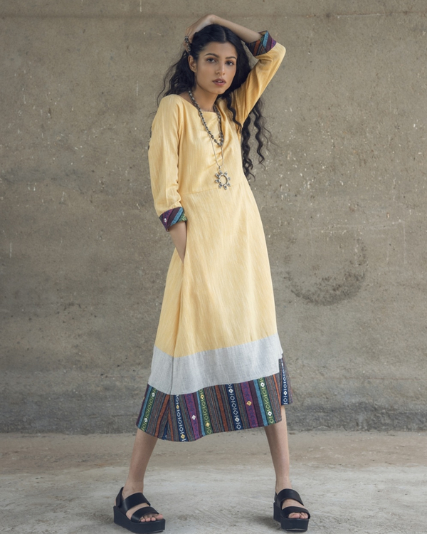 Yellow mirror embroidered cotton maxi dress 2