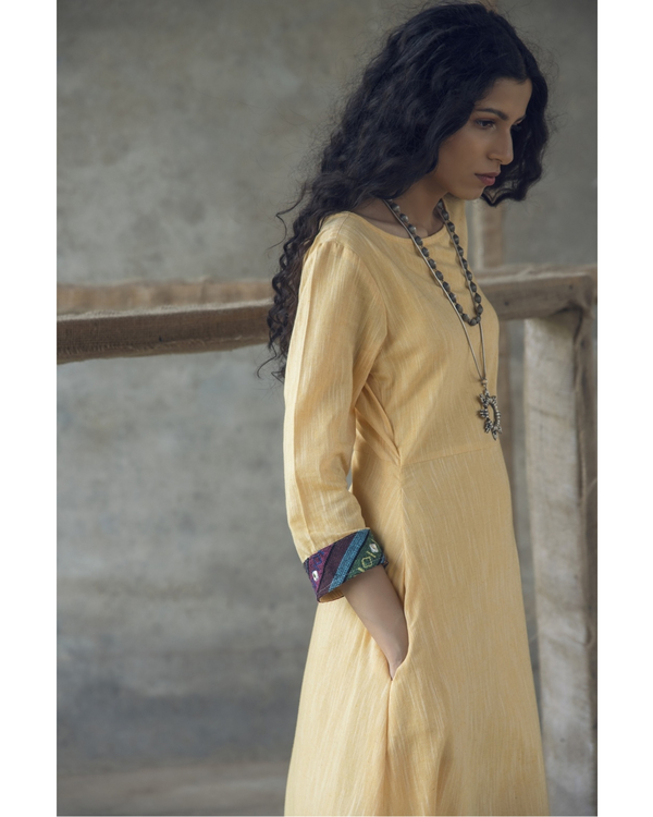Yellow mirror embroidered cotton maxi dress 1