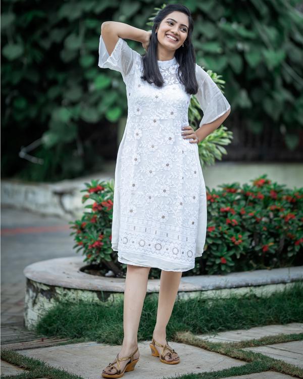 White thread work embroidered midi dress 2