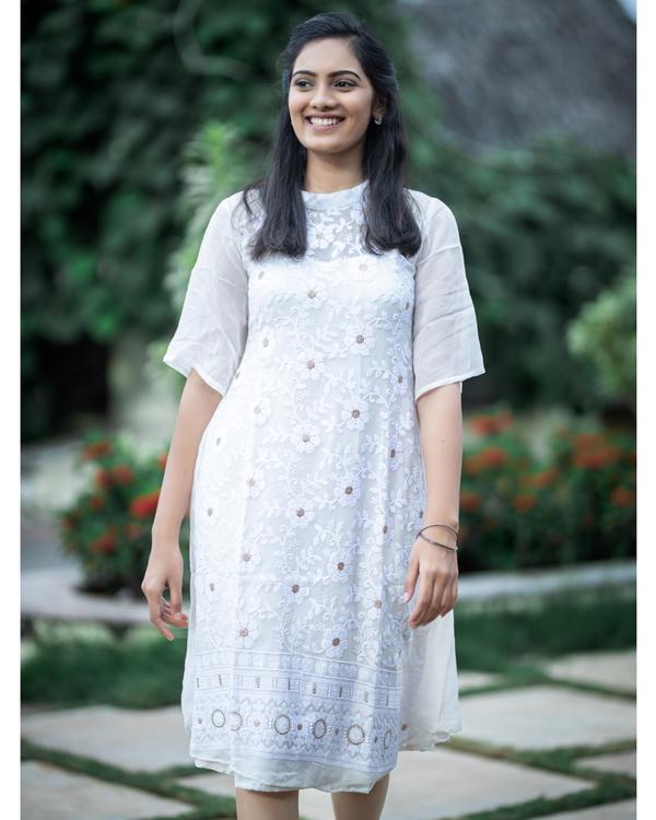 White thread work embroidered midi dress 1