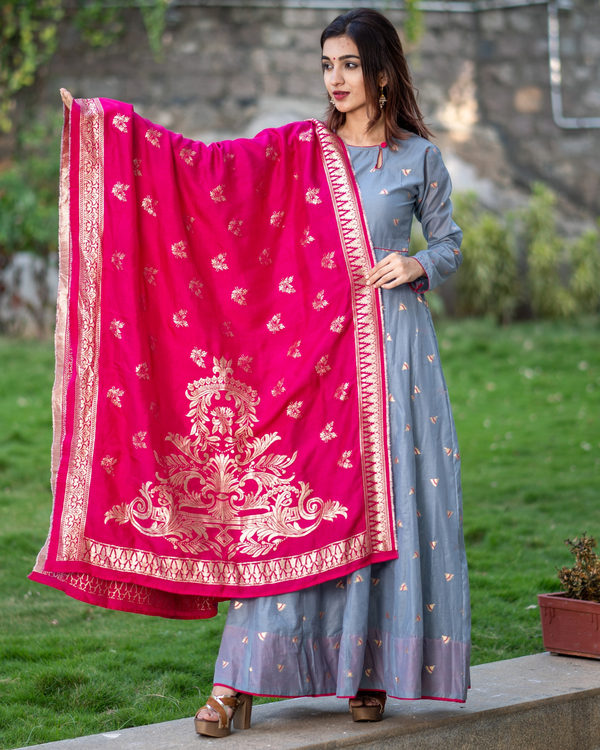 Grey Handwoven Benarasi Silk Dress with Pink Benarasi Dupatta - Set of Two 2
