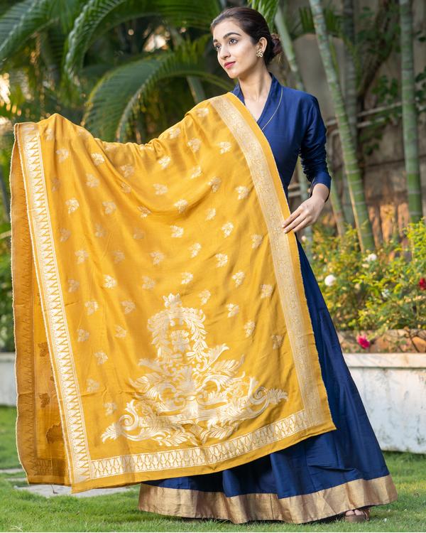 Blue Dupion Cotton Dress with Yellow Benarasi Dupatta - Set of Two 3