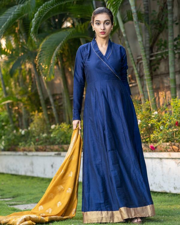 Blue Dupion Cotton Dress with Yellow Benarasi Dupatta - Set of Two 2