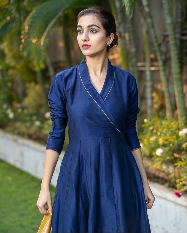 Blue Dupion Cotton Dress with Yellow Benarasi Dupatta - Set of Two 1