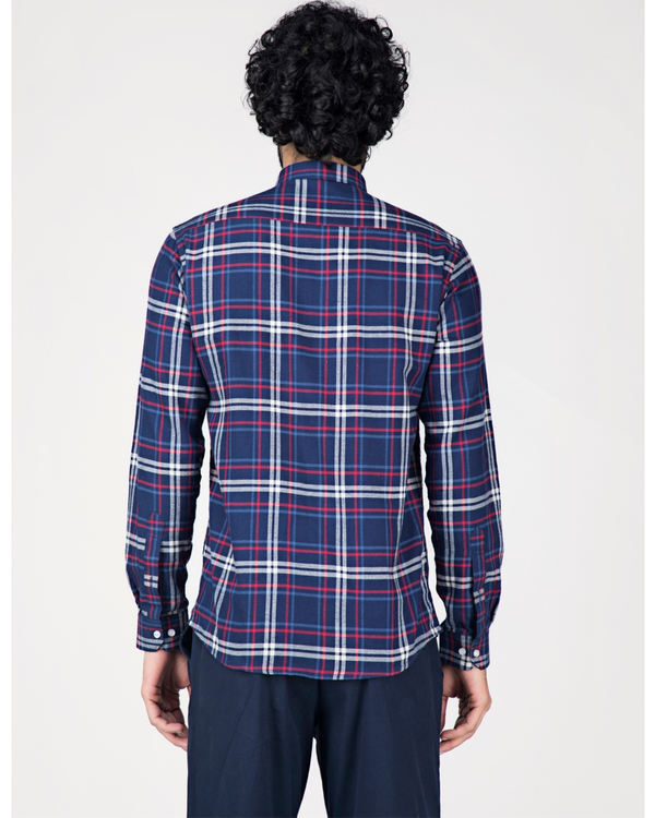Blue and white tartan checkered shirt 3