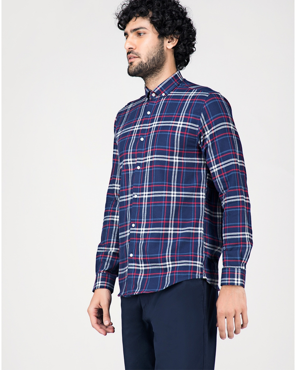Blue and white tartan checkered shirt 2