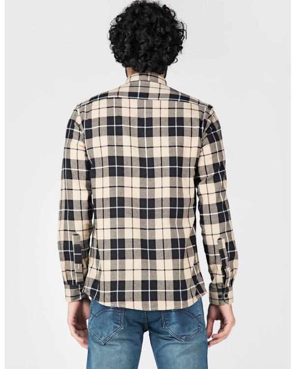 Beige and black tartan checkered shirt 3