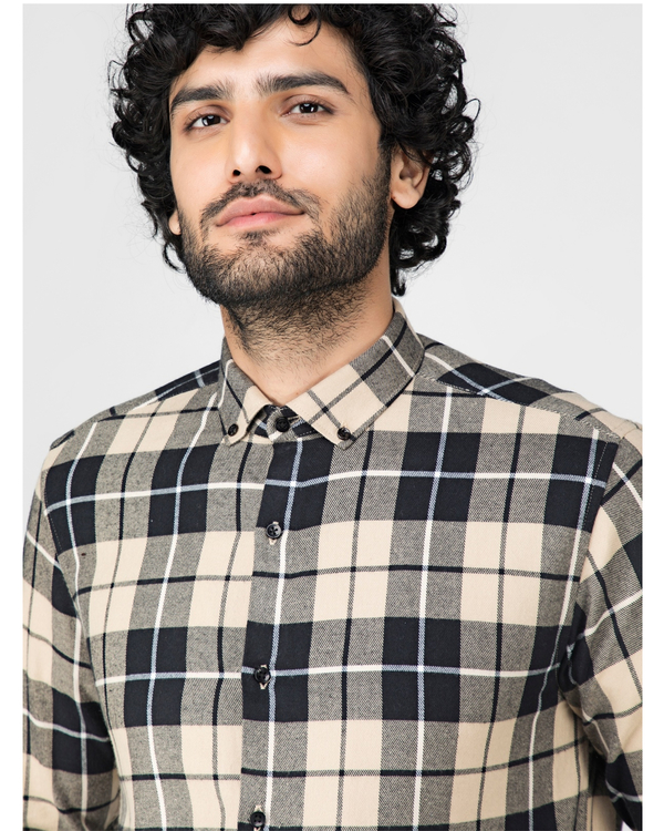 Beige and black tartan checkered shirt 1