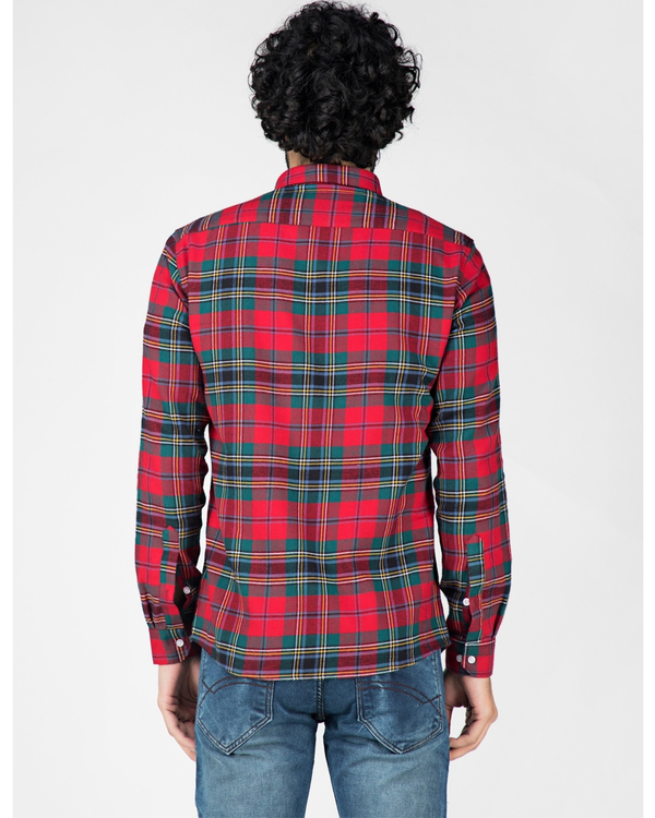 Red and green school plaid shirt 3