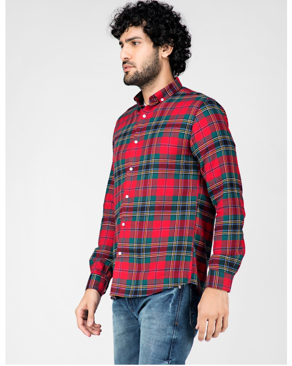 Red and green school plaid shirt 2