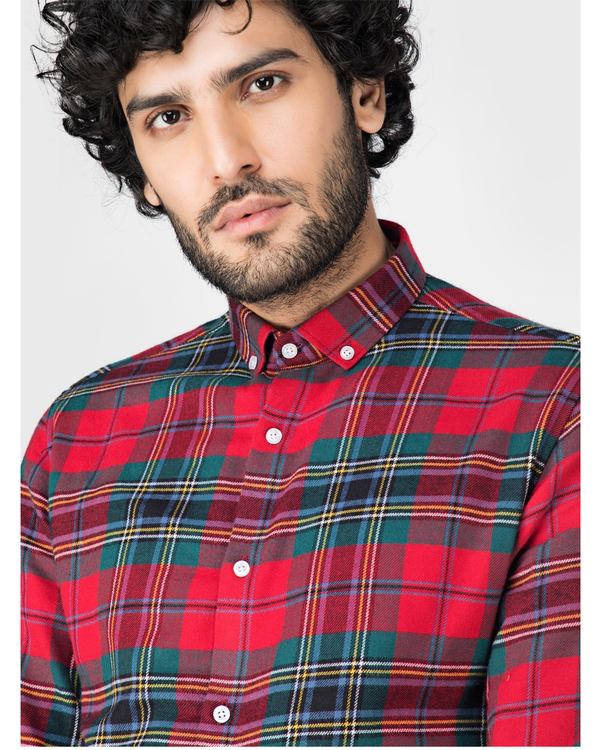 Red and green school plaid shirt 1