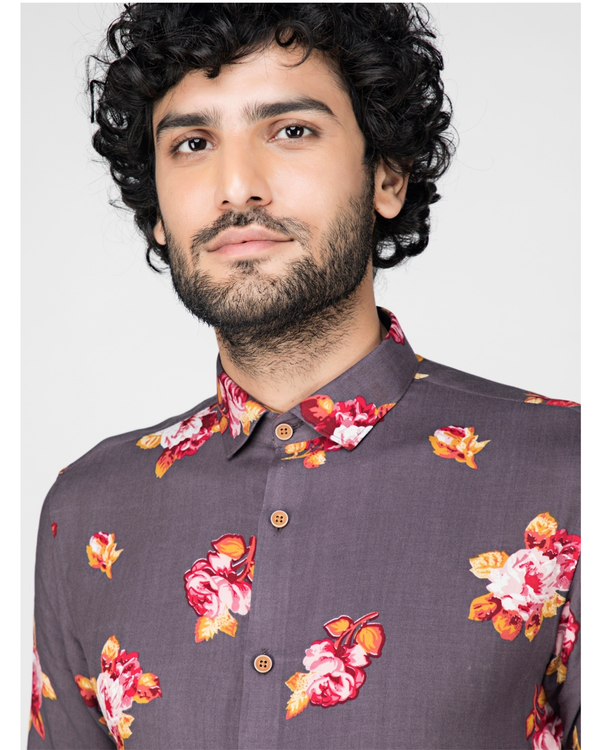Grey floral printed casual shirt 1