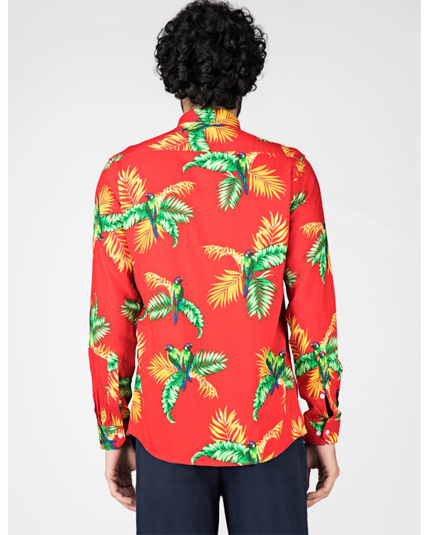Red and green floral printed casual shirt 3