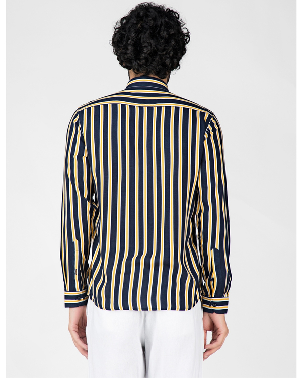 Yellow and blue striped casual shirt 3