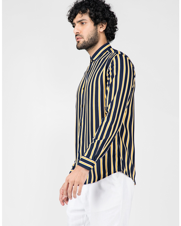 Yellow and blue striped casual shirt 2