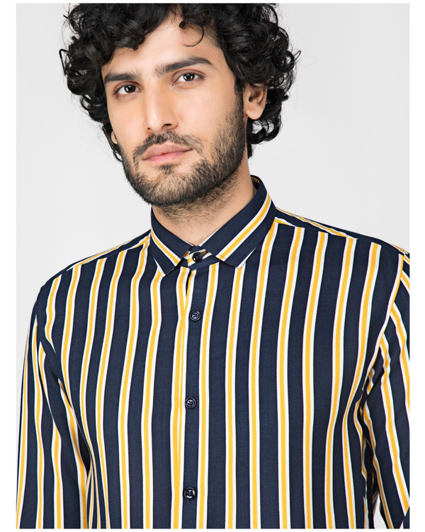 Yellow and blue striped casual shirt 1