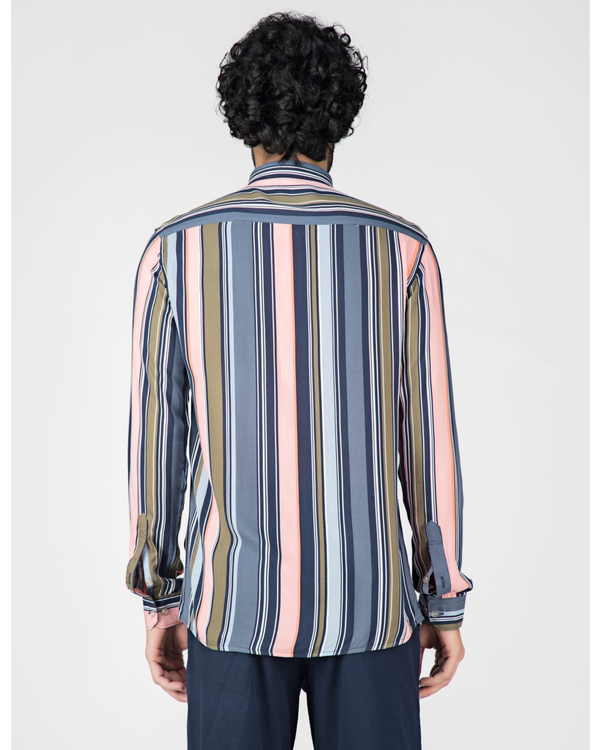 Pink and blue striped casual shirt 3
