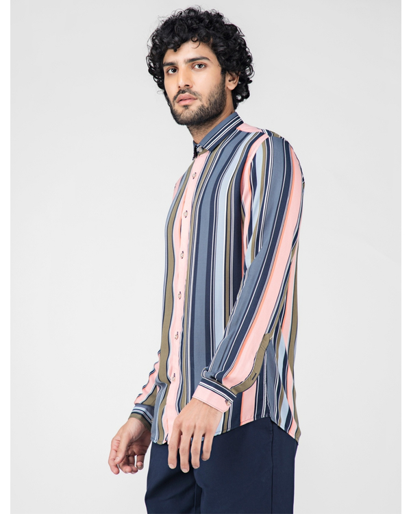 Pink and blue striped casual shirt 2