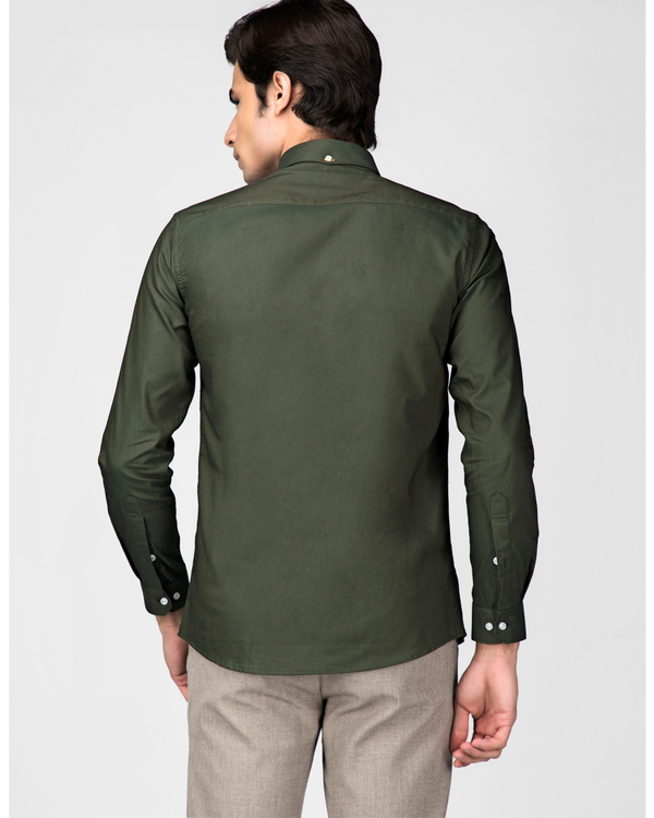 Olive green oxford embroidered shirt 3
