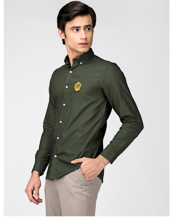 Olive green oxford embroidered shirt 2