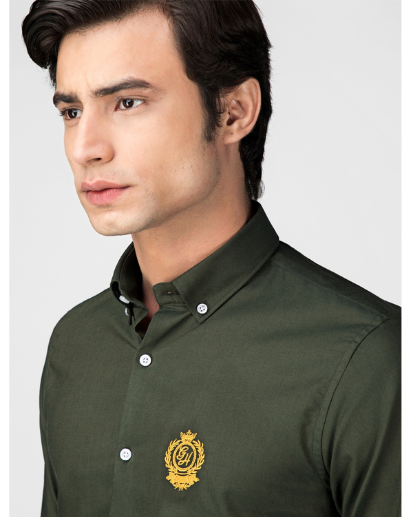 Olive green oxford embroidered shirt 1