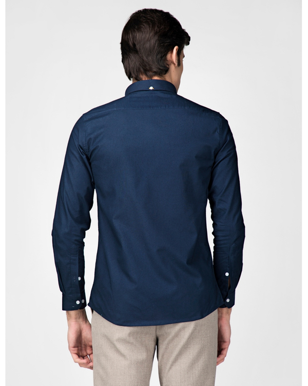 Royal blue oxford embroidered shirt 3