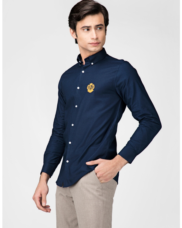 Royal blue oxford embroidered shirt 2