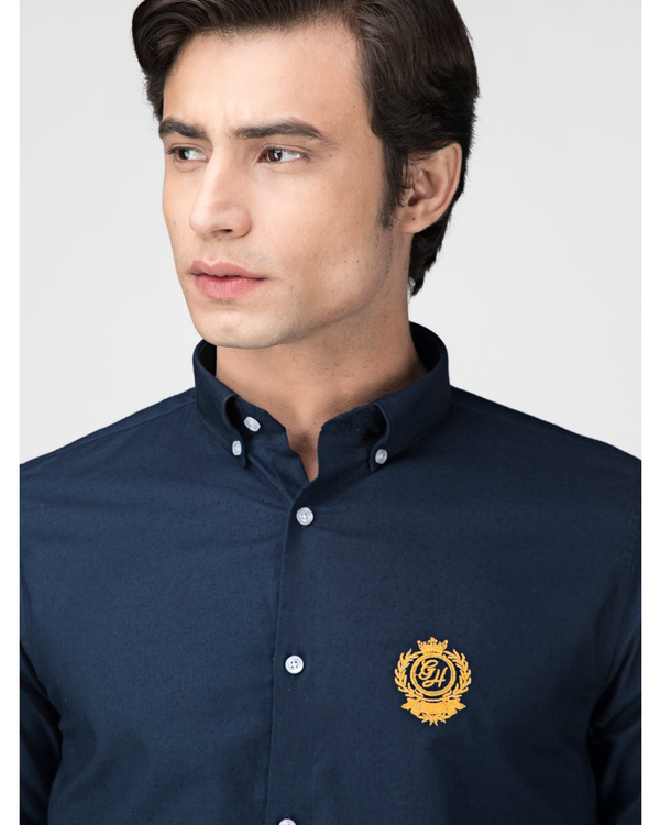 Royal blue oxford embroidered shirt 1