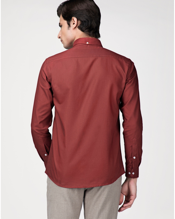 Red oxford embroidered shirt 3