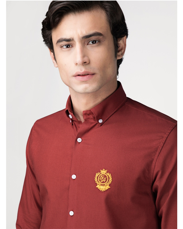 Red oxford embroidered shirt 1